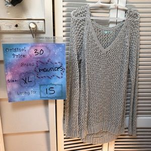 Silver open knit sweater from Maurices